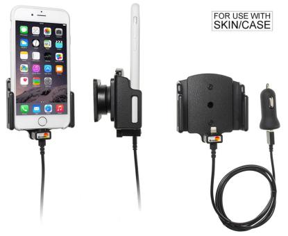 Brodit Gerätehalter 521666 für Apple iPhone 6 / 6S / 7 / 8 / X / Xs / SE 2.Gen 2020 (Aktiv mit Zigarettenanzünderanschluß und USB-Stecker)