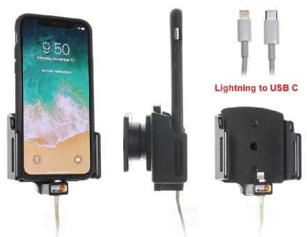 Brodit Gerätehalter 716013 für Apple iPhone X / Xs / XR /11 / 11 Pro (Mit Steckervorbereitung (ohne Kabel))