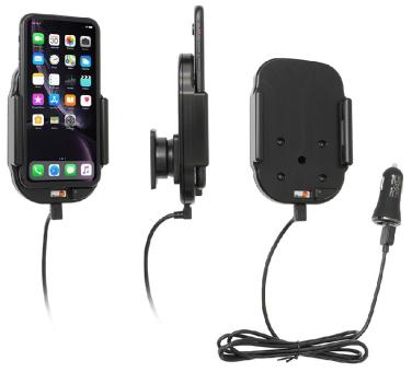 Brodit Gerätehalter 718090 für Apple iPhone 11 / iPhone XR (aktiv für Zigarettenanzünder / USB für QI Ladung)