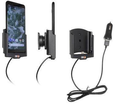 Brodit Gerätehalter 721088 für Google Pixel 3 (aktiv mit Zigarettenanzünderanschluß und USB-Stecker)