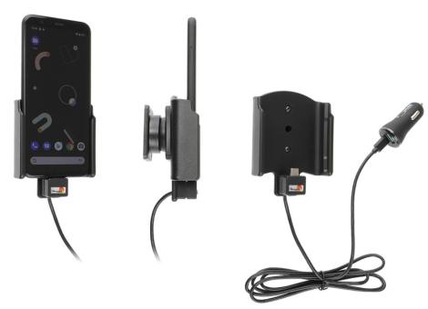 Brodit Gerätehalter 721176 für Google Pixel 4 (aktiv mit Zigarettenanzünderanschluß und USB-Stecker)